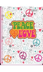 CADERNO UNIV CD 10X1 200F PEACE LOVE R.3479 KAJOMA